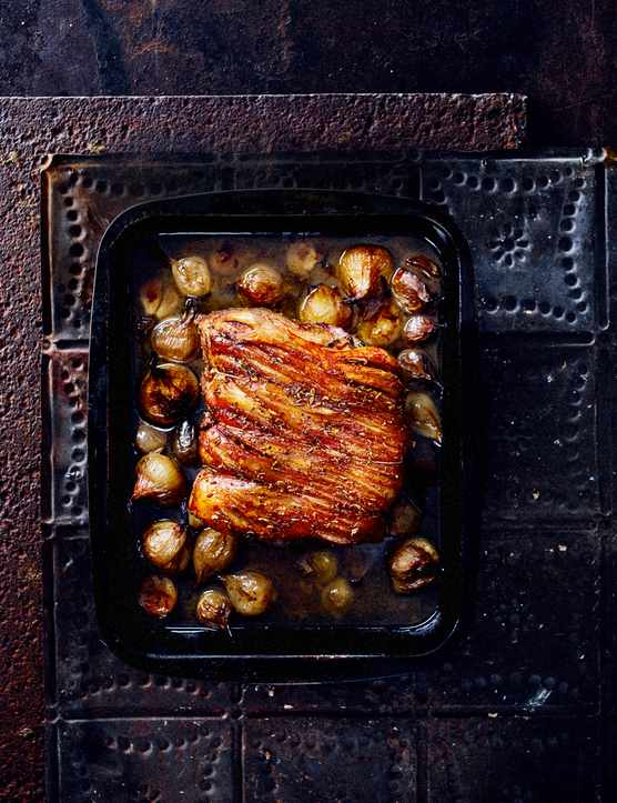 Slow Roast Pork With Confit Shallots