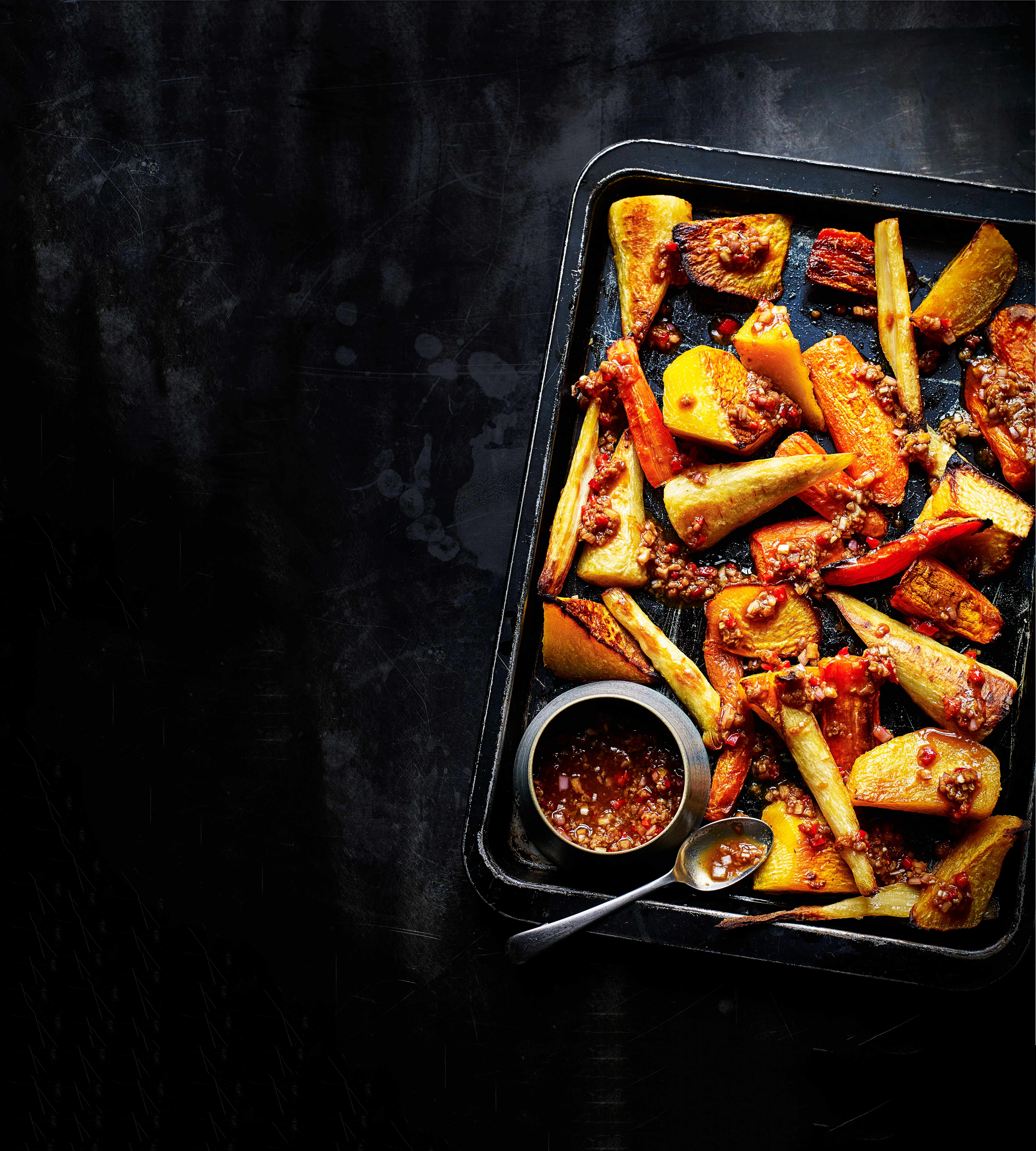 Roasted Root Vegetables With Umami Dressing