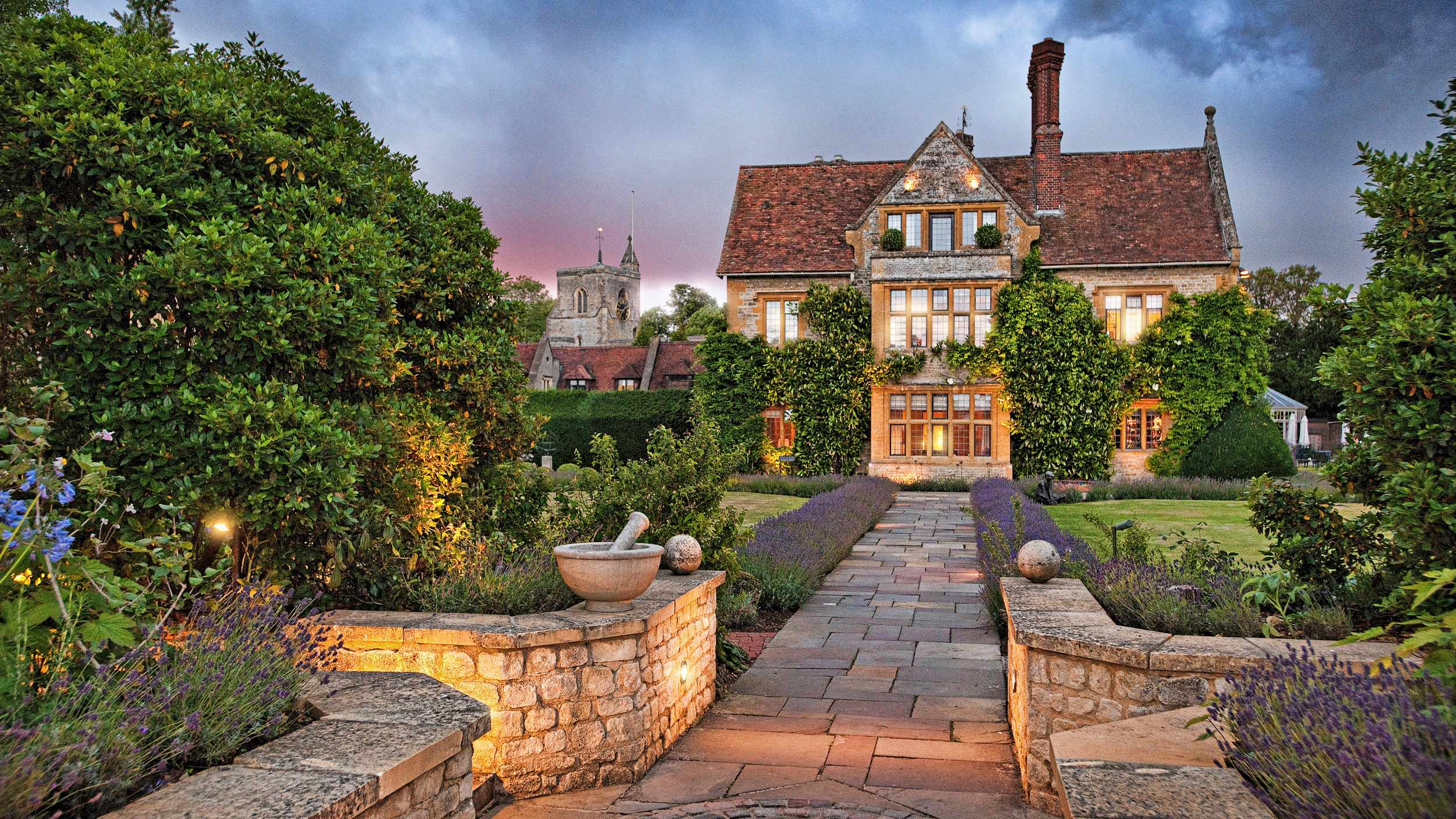 An evening view of Belmond Le Manoir