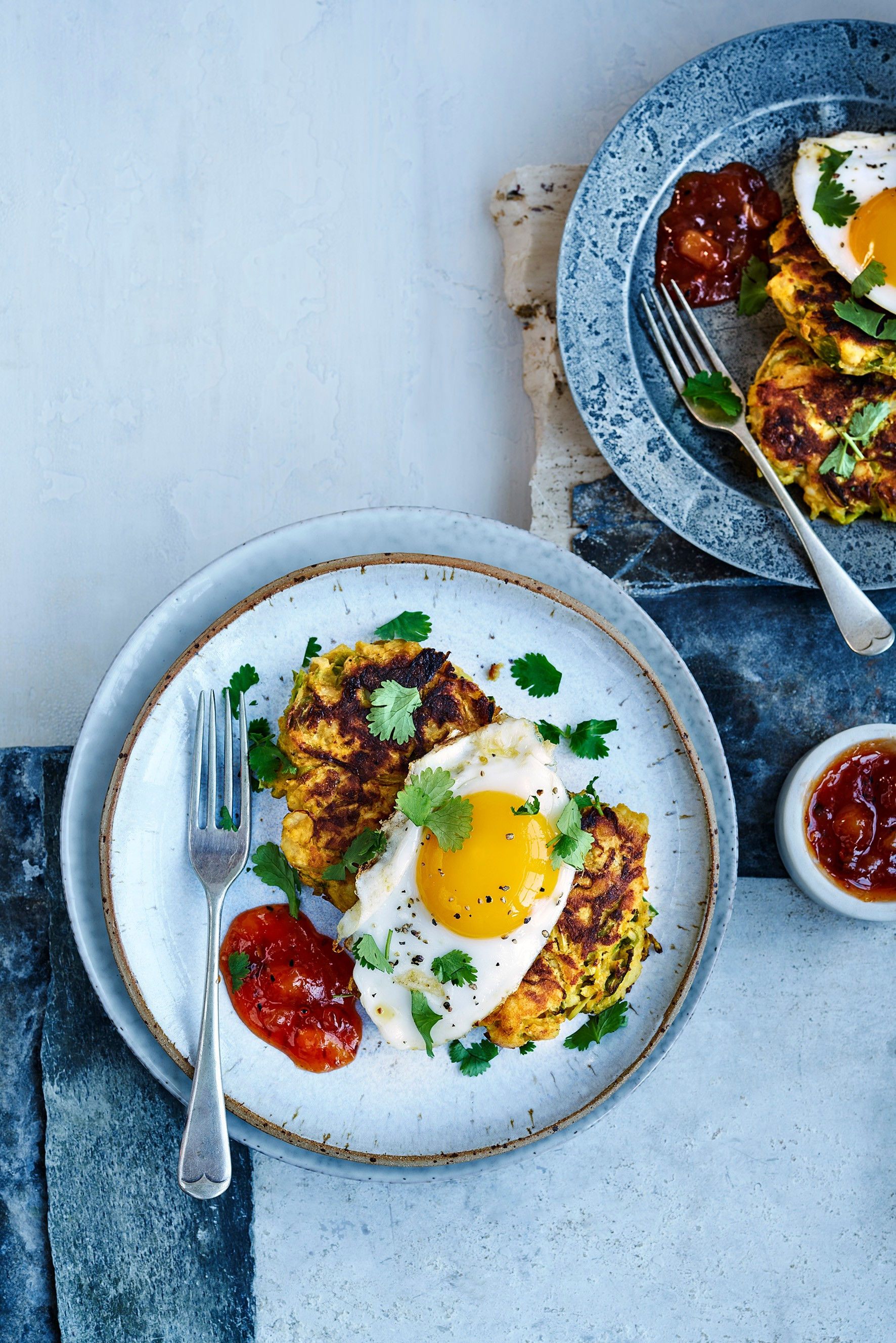 Spiced sprout fritters with duck eggs