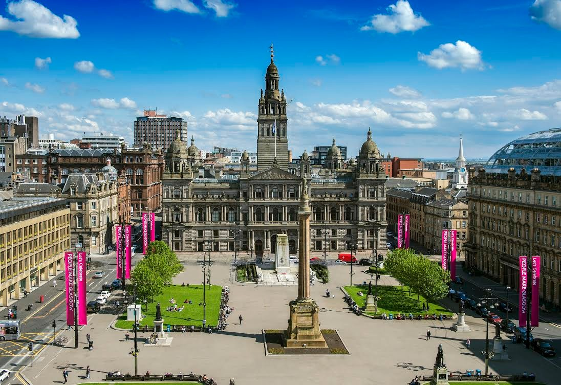 A large square and gothic building in Glasgow
