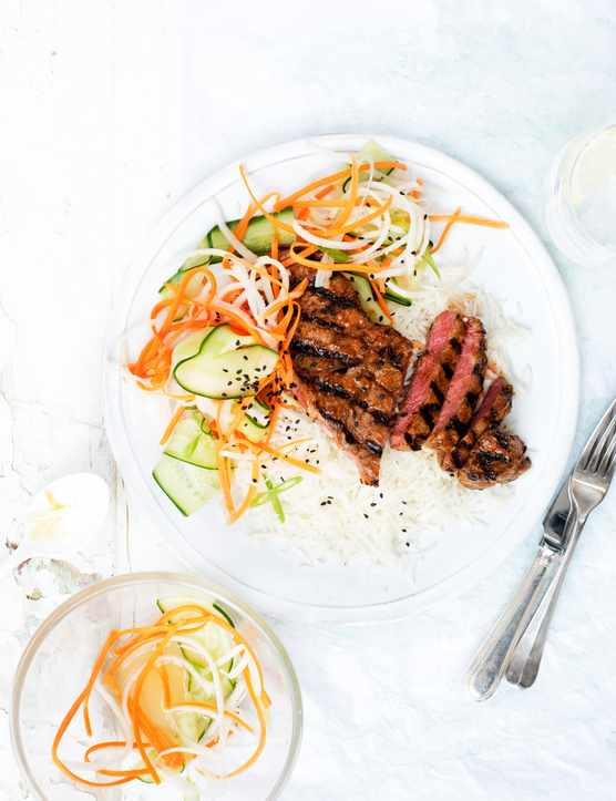 korean steak with pickled cucumber salad