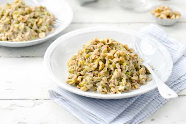 Farro Risotto Recipe with Leeks and Hazelnuts