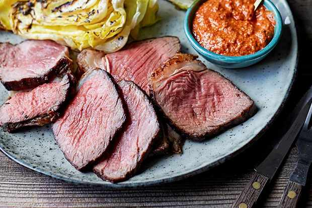 grilled beef sirloin and hispi cabbage