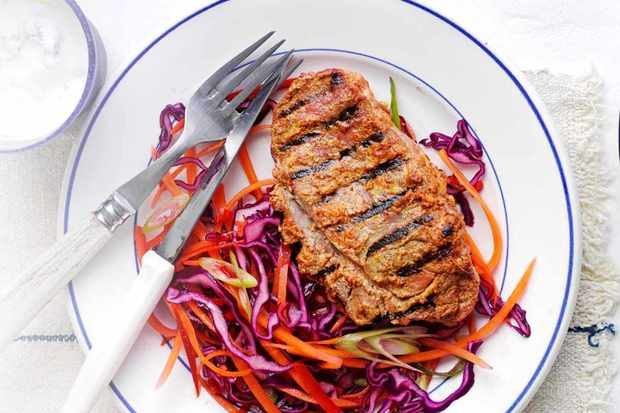 lamb steaks and chilli slaw