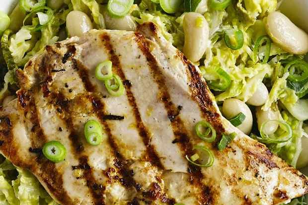 grilled chicken with cabbage