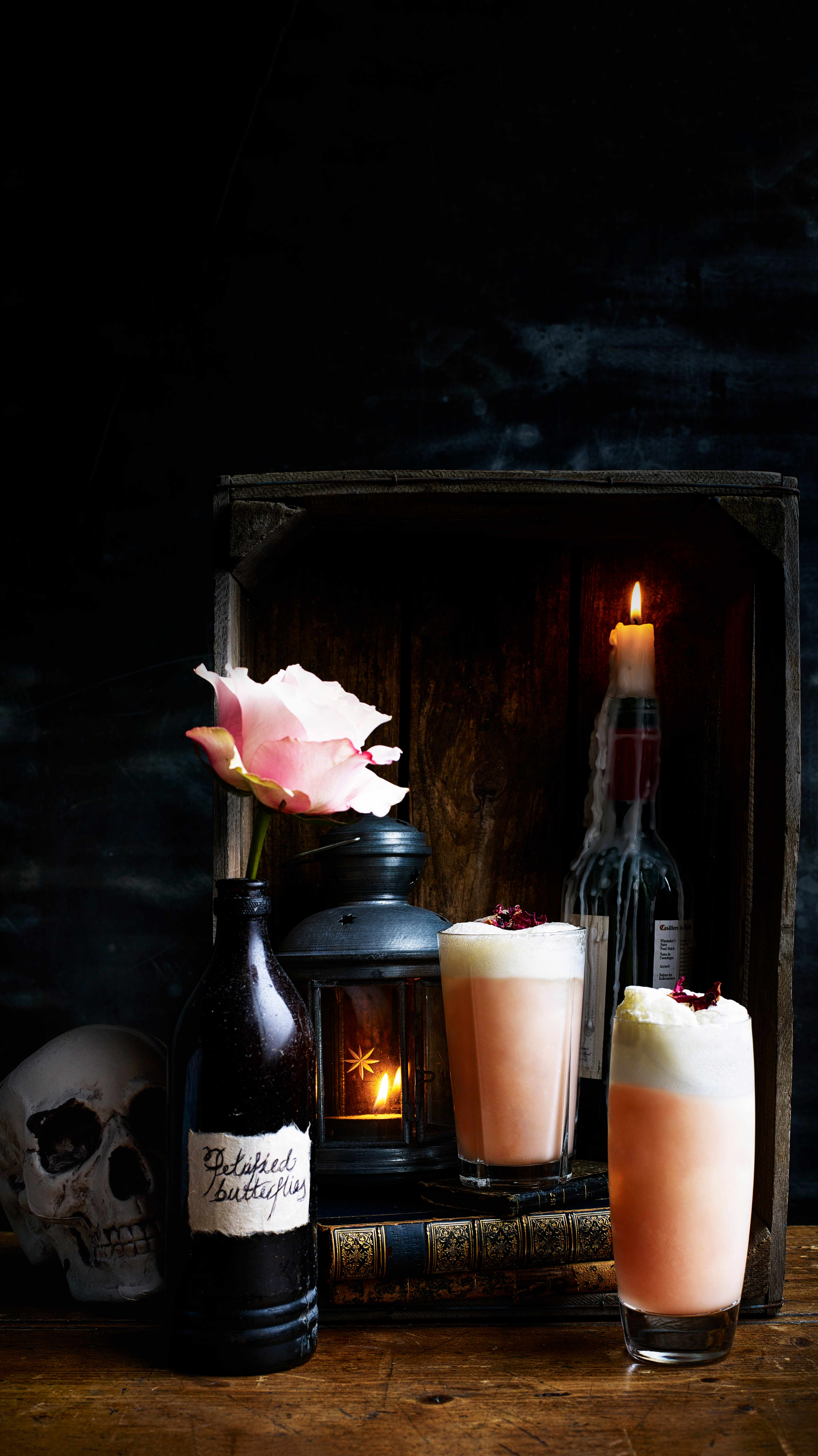 Valentines Cocktail For Gin Fizz With Rhubarb Syrup