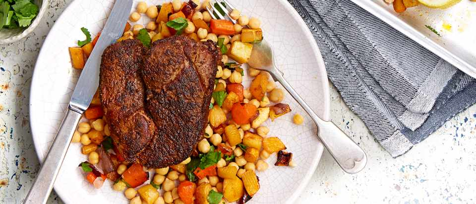 Ras el hanout crusted lamb steaks with roasted roots