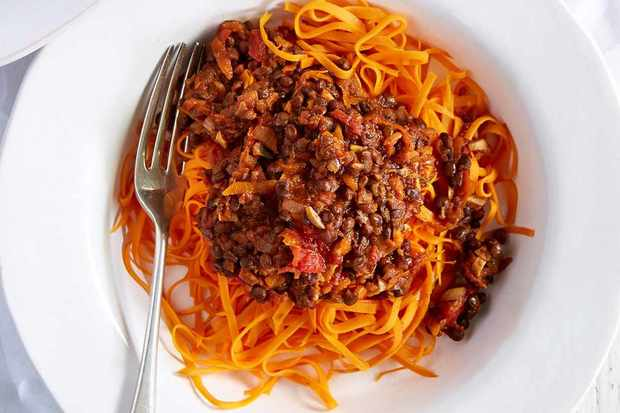 Sweet potato linguine with puy lentil ragù
