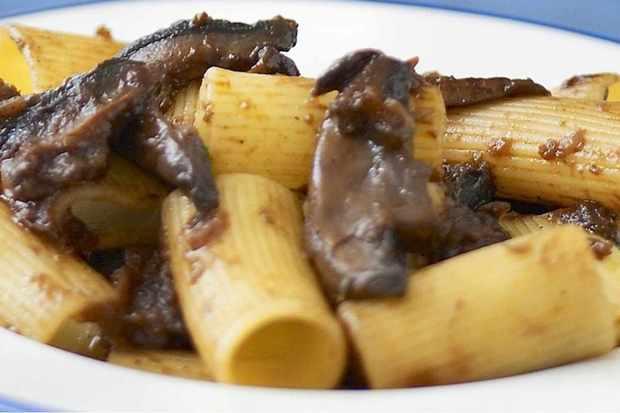 Rigatoni with mushroom and red wine ragu