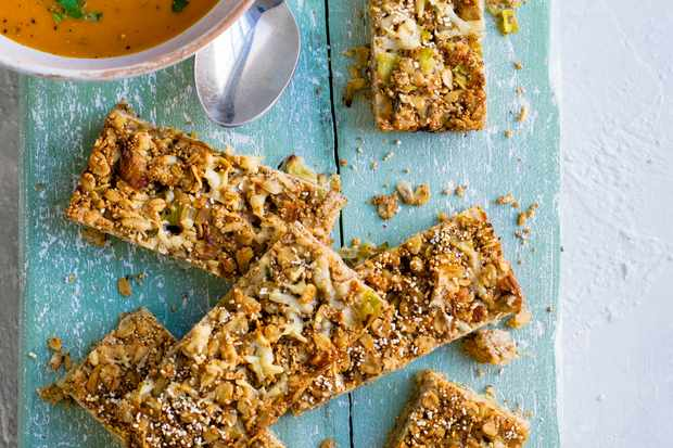 Flapjack Recipe with Cheddar, Leek And Amaranth