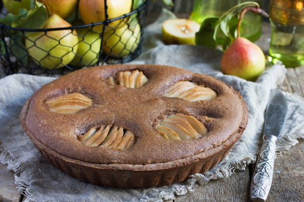Chocolate, Almond & Pear Tart