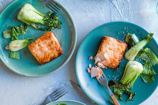 Koji Salmon and greens