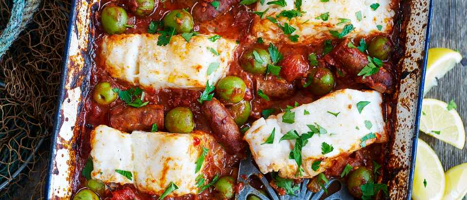 Merguez Sausage Recipe with Cod and Harissa Sauce