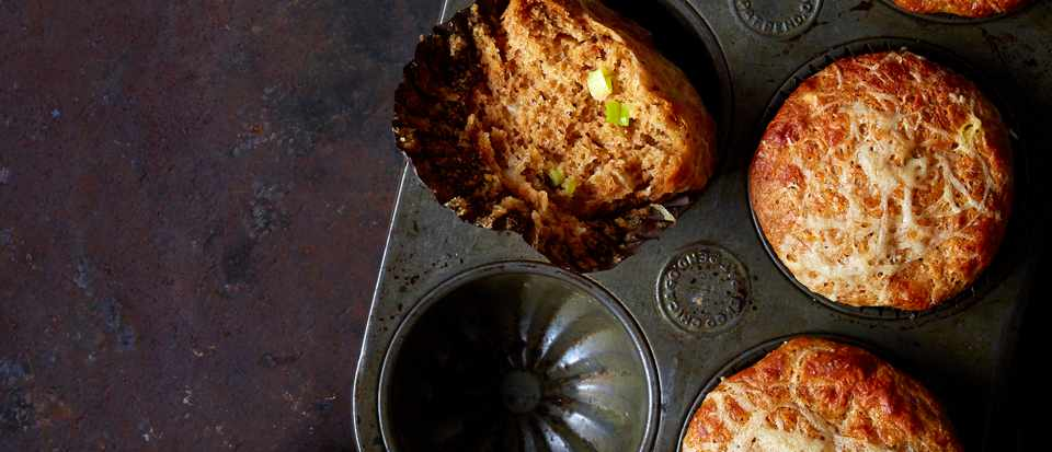 Marmite Muffins With Cheese and Spring Onion