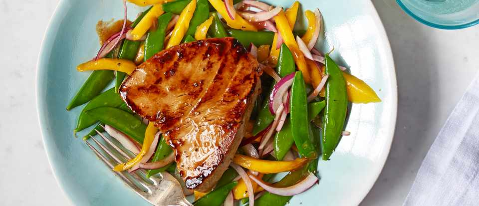 Seared Tuna Steak Recipe with a Pea and Mango Salad