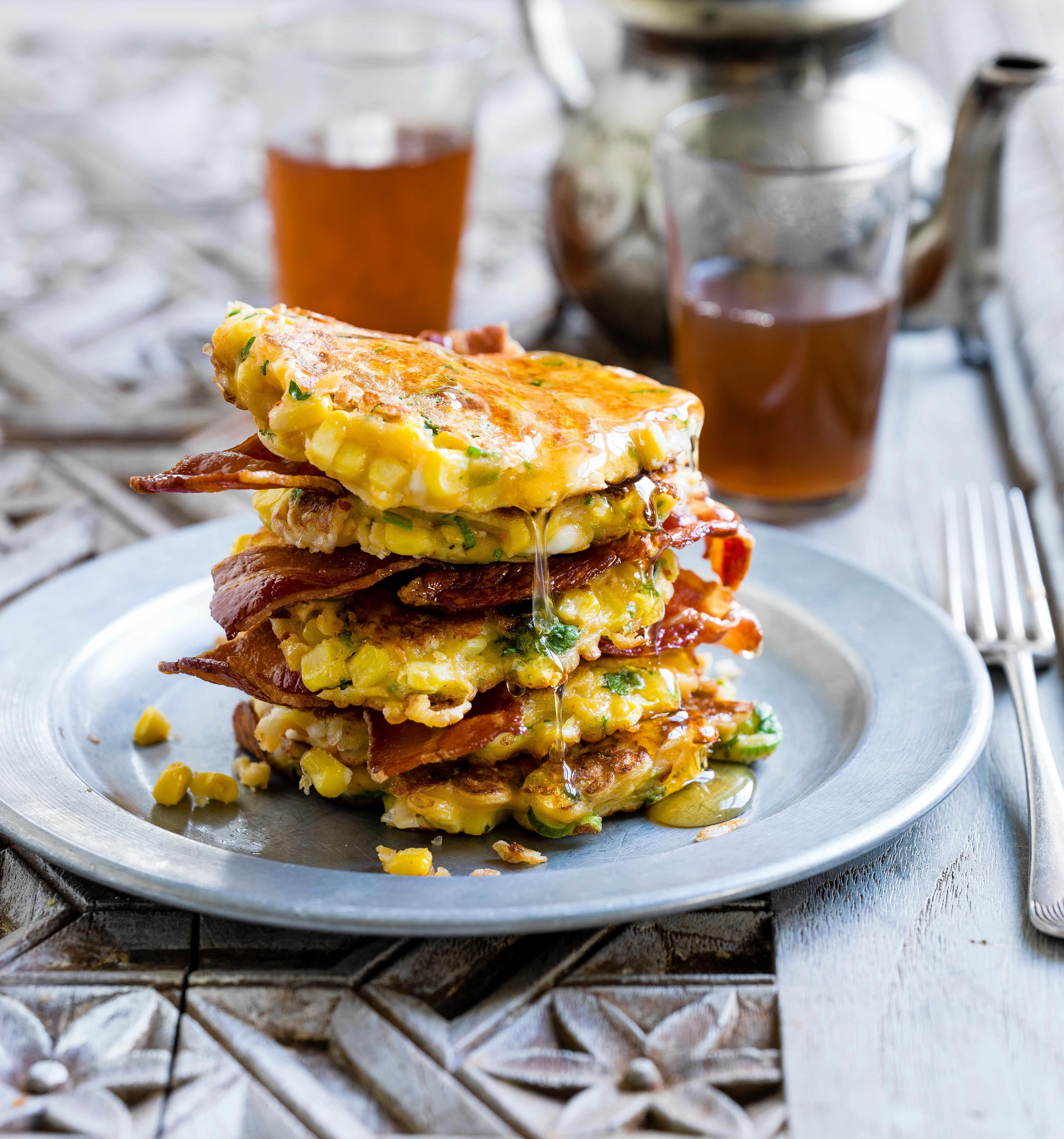 Sweetcorn, feta and spring onion pancakes
