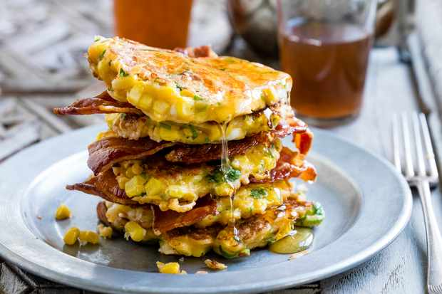 Sweetcorn, feta and spring onion pancakes