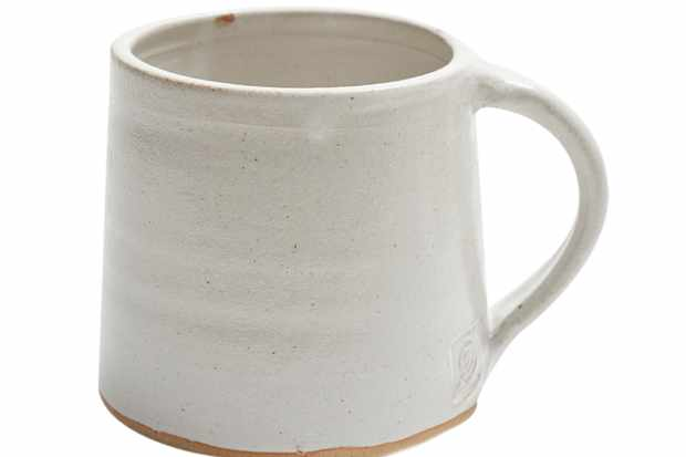 Lane and Parkwood pottery speckled white mug. lanebypost.com