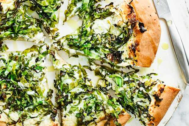 Garlic Greens Ricotta Pizza