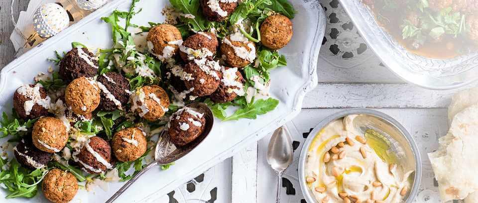 Sesame falafel salad with tahini