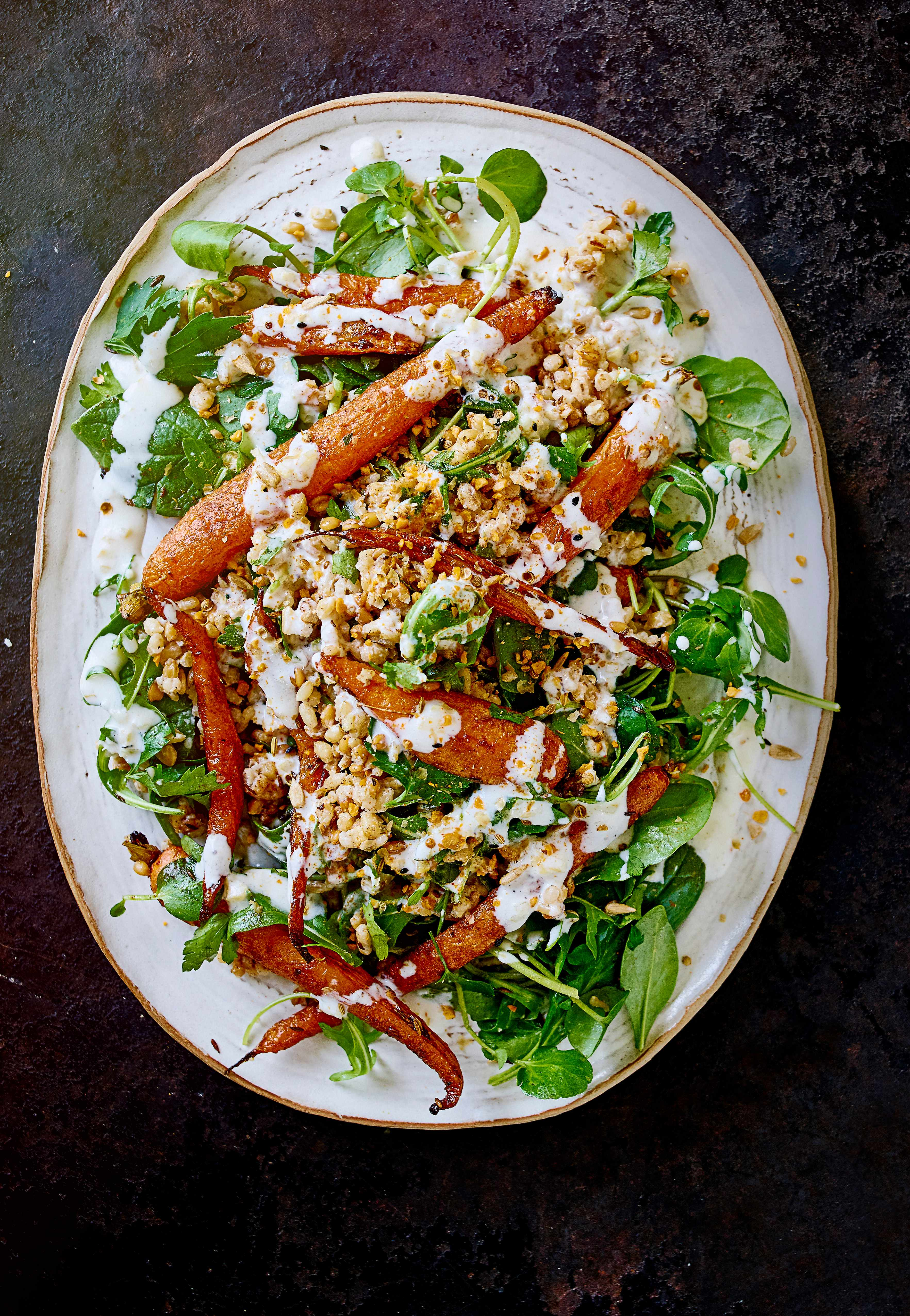 Roast carrot and spelt salad with dukkah and preserved lemon dressing