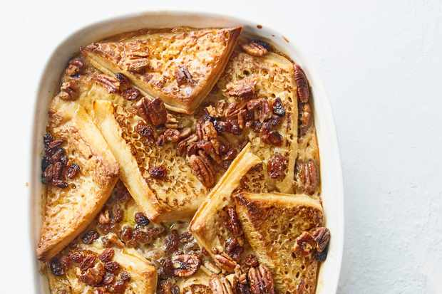Maple-pecan crumpet bread & butter pudding