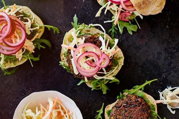 Cajun bean burgers and dairy-free slaw