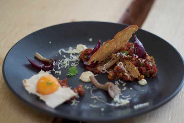 Cured beef tartare with pickles