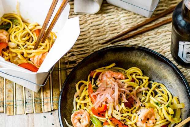 Yaki Soba Noodles with King Prawns
