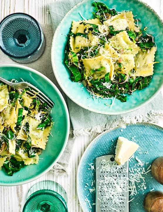 Lemon Ravioli Recipe with Greens