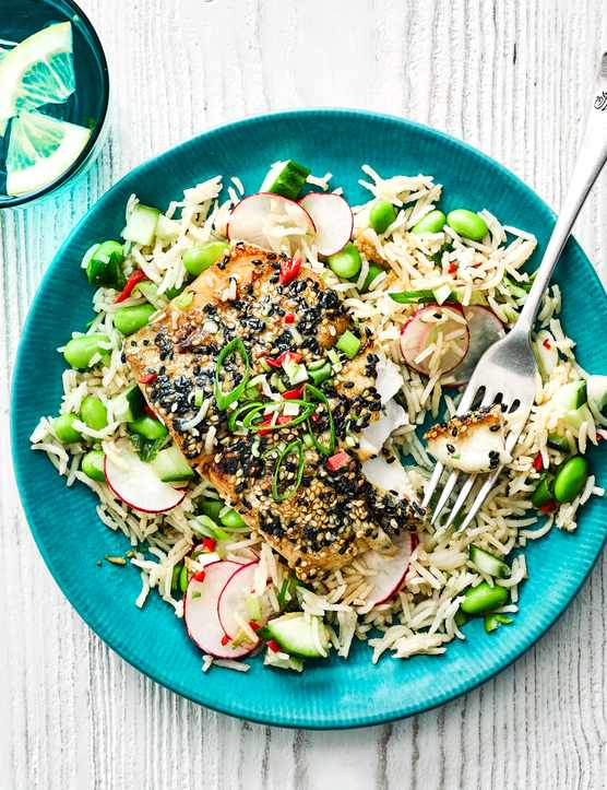 Sesame-glazed pollock with warm rice and edamame salad