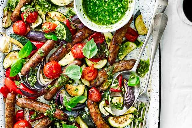 Italian sausage and veg tray roast