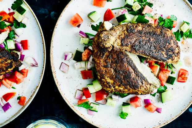 Butterflied ras el hanout chicken breast with chopped salad