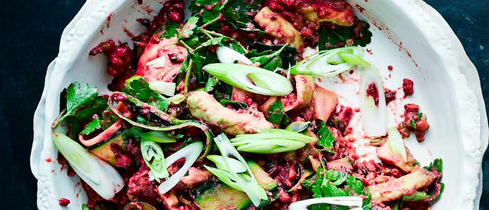 Red Rice Salad with Avocado and Blitzed Beetroot Dressing Recipe