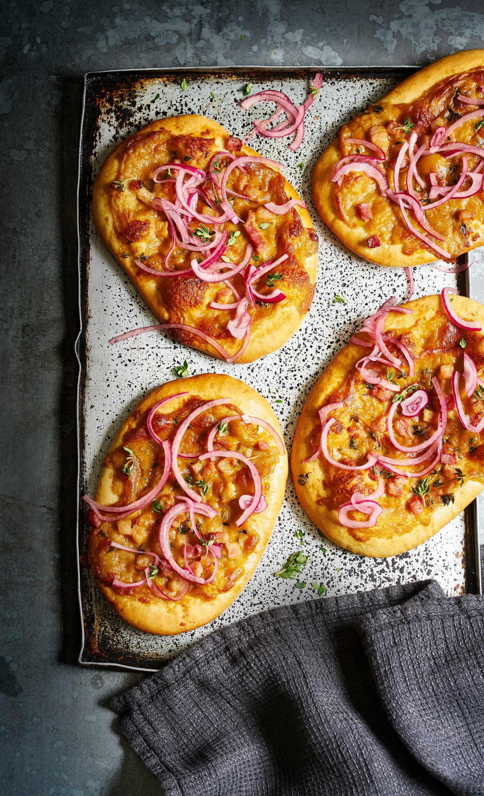 Pickled Onion and Rarebit Flatbreads