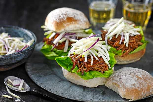 Spicy BBQ pork buns with kohlrabi slaw