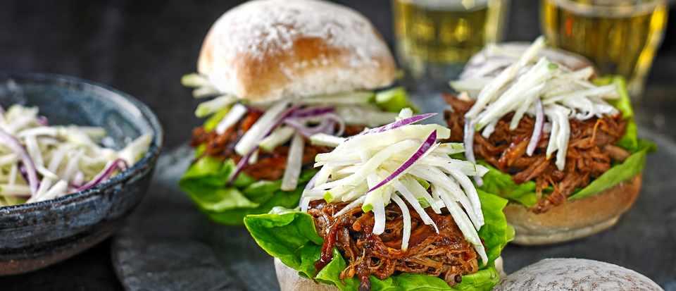 Spicy BBQ pork buns with kohlrabi slaw