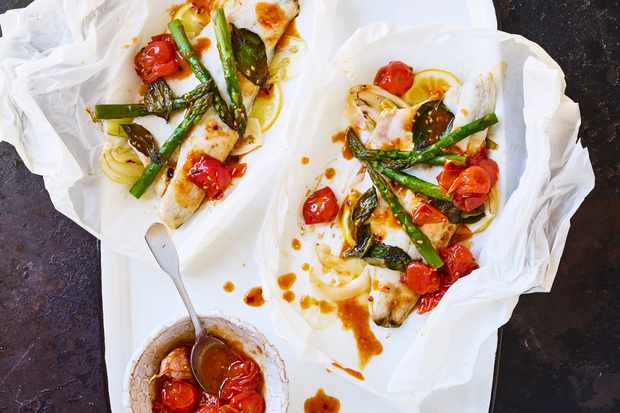 Sea bass parcels with roasted tomato dressing