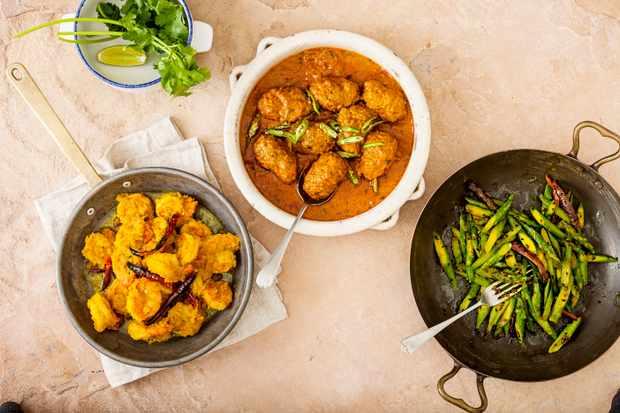Selection of dishes at Darjeeling Express
