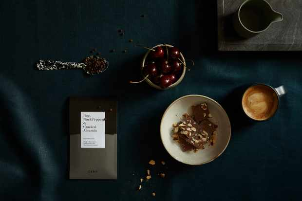 Pine, black pepper and cracked almonds chocolate bar by Caro