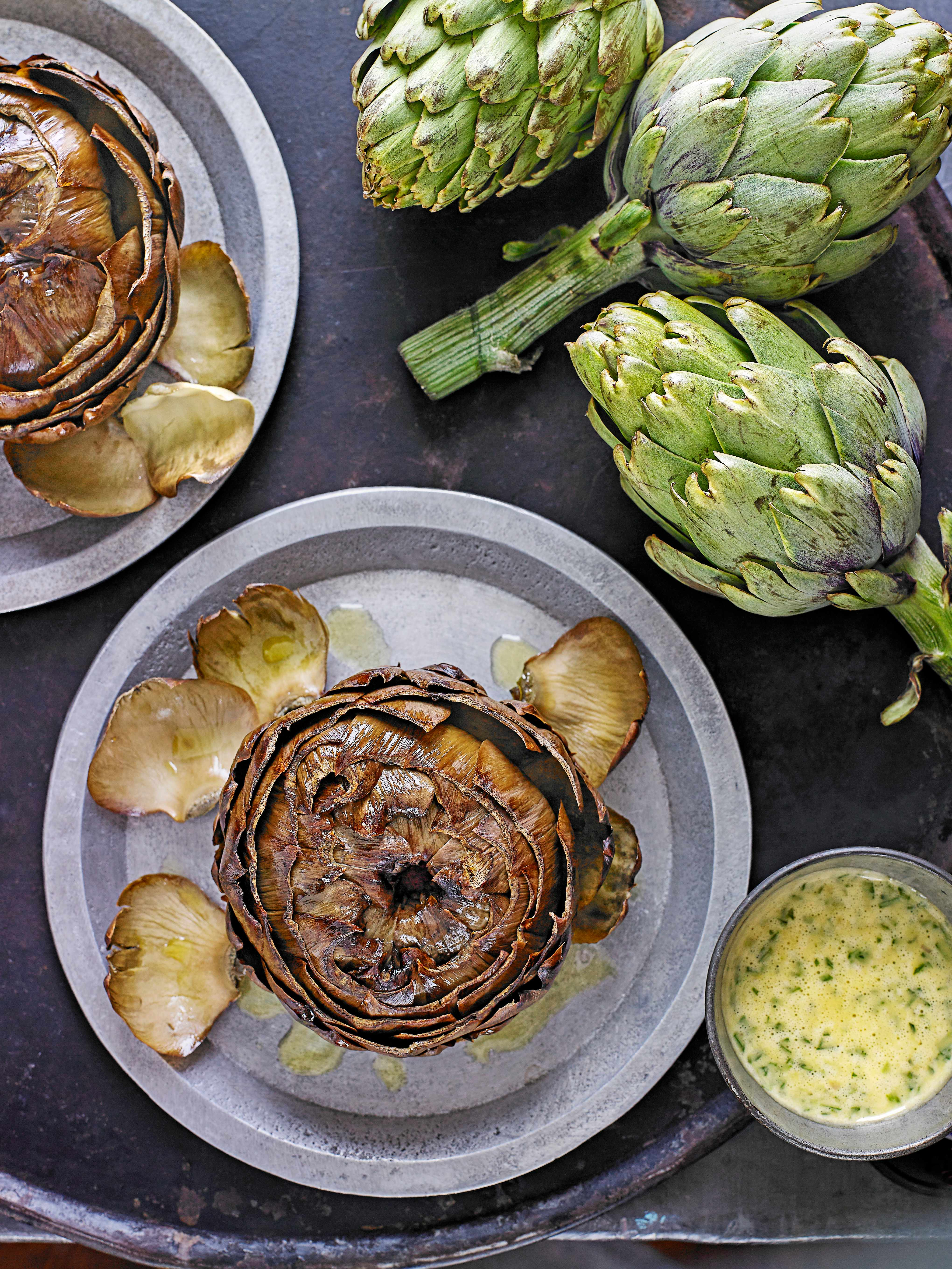 Roasted artichokes with tarragon vinaigrette