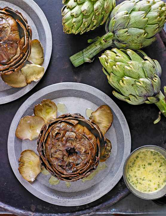 Roasted Artichokes With Tarragon Vinaigrette Recipe