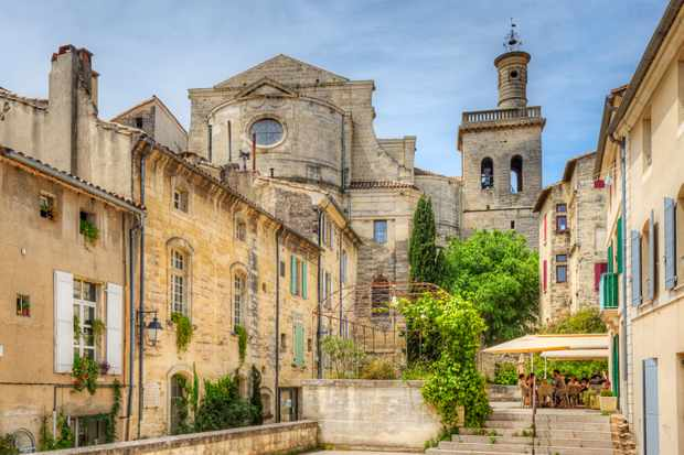 Old rustic stone buildings in Uzes, France