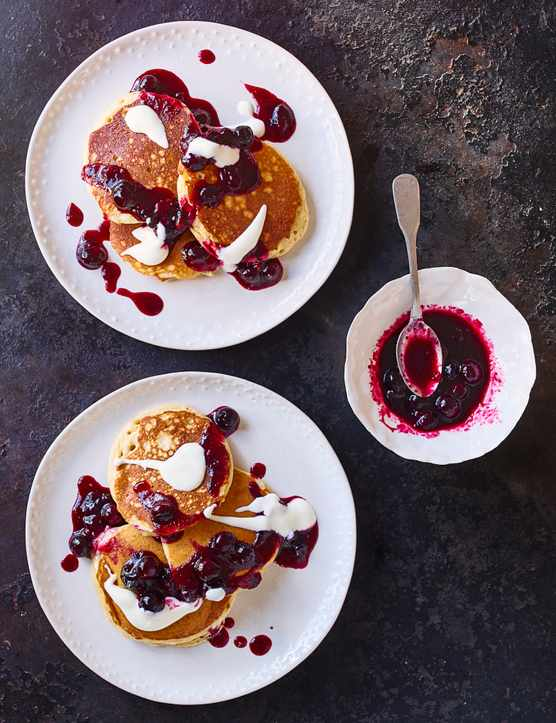 Spelt buttermilk drop scones with blueberry compote