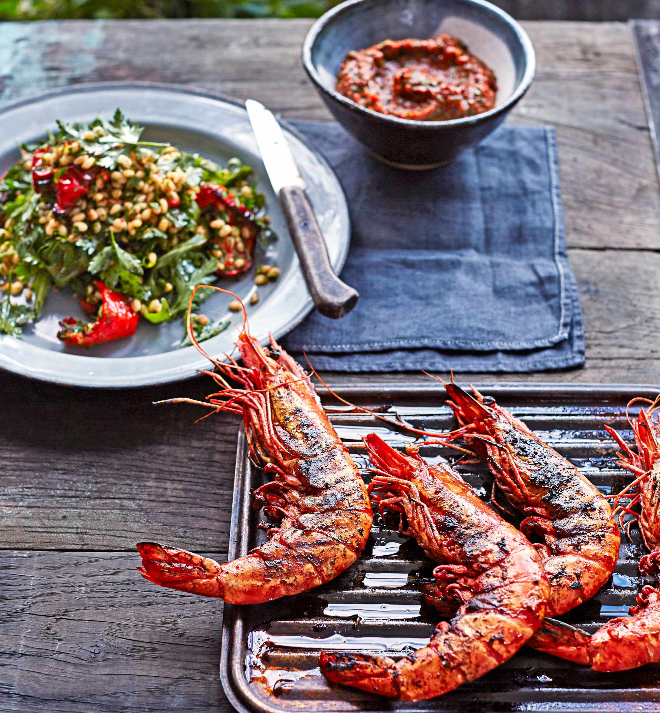 Roasted Red Pepper, Pearl Barley and BBQ Prawns