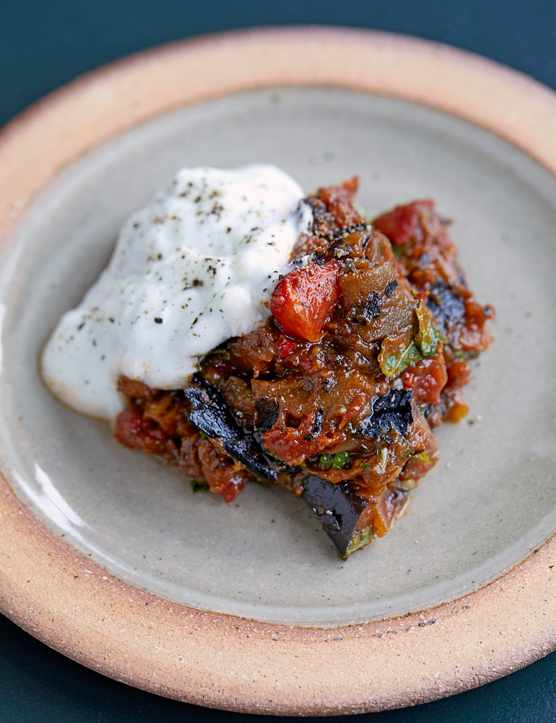 Spiced aubergine and tomatoes with yogurt