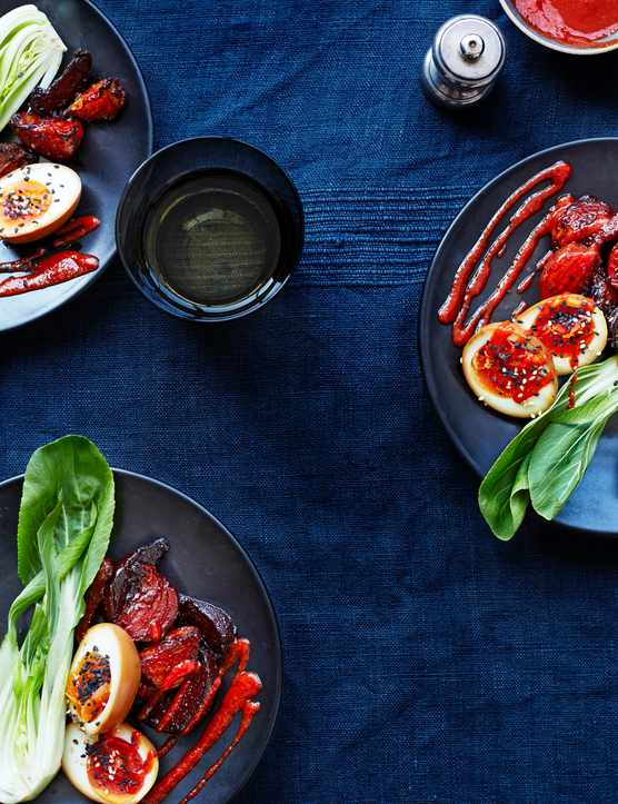 Spicy Beetroot and Pak Choi with Ramen Eggs and Sriracha Recipe