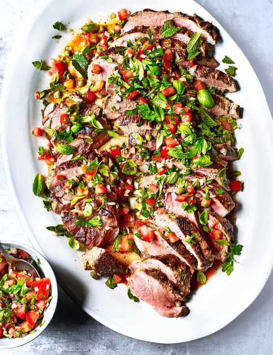 Summer Roast Lamb Recipe With Tomato and Caper Marinade