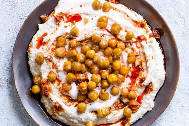 harissa and yogurt swirl hummus